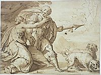 Adonis held back by Venus while going hunting, 1600, aachen