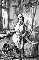 Butcher in his shop, abrahamvanstrij