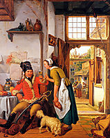 Interior with soldier and maid, abrahamvanstrij