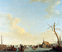Merriment on frozen river, abrahamvanstrij