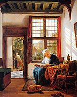 Reading old woman at window , abrahamvanstrij