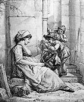 Sleeping woman teased by two boys, abrahamvanstrij