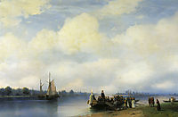 Arrival of Peter I on the Neva , 1853, aivazovsky