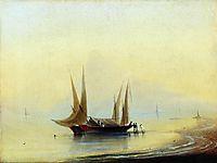 Barge in the sea shore, aivazovsky