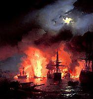 Battle of Cesme at Night, 1848, aivazovsky