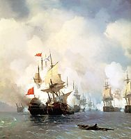 Battle of Chios on 24 June, 1770, 1848, aivazovsky