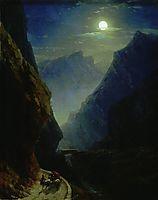 Darial Gorge. Moon night, 1868, aivazovsky