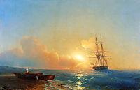 Fishermen on the coast of the sea, 1852, aivazovsky