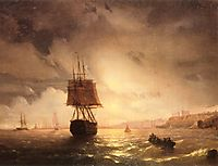 The Harbor At Odessa On The Black Sea, 1852, aivazovsky