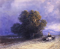 Ox Cart Crossing a Flooded Plain, 1897, aivazovsky