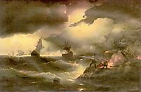 Peter the First to light out a watch fire, 1846, aivazovsky