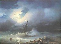 Rough sea at night, 1853, aivazovsky