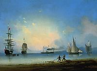 Russian and French frigates, 1858, aivazovsky