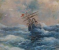 Sea with a ship, aivazovsky