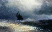 Ship in a storm, 1887, aivazovsky