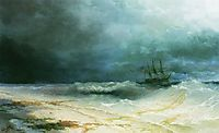 Ship in a storm, 1895, aivazovsky
