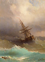 Ship in the Stormy Sea, 1887, aivazovsky