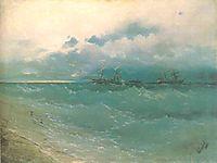 The ships on rough sea, sunrise, 1871, aivazovsky