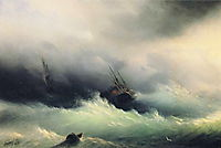 Ships in a Storm  , 1860, aivazovsky