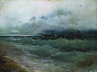 Ships in the stormy sea. Sunrise , 1871, aivazovsky