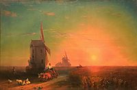 Sunset. Mill, aivazovsky