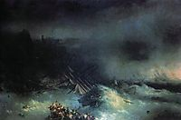 Tempest. Shipwreck of the foreign ship, 1855, aivazovsky