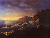 Tempest. Sunset, 1856, aivazovsky
