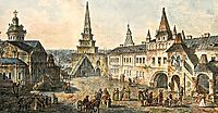 Church of St. John the Baptist, Borovitskaya tower and Stablings prikaz (department) in the Kremlin, c.1805, alekseyev