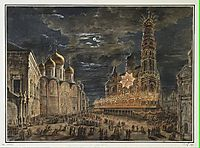 Illumination at Soboronaya Square on the occasion of the coronation of Alexander I, 1802, alekseyev