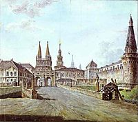 View of Moscow Near the Iversky Gate of the Kremlin, 1800, alekseyev