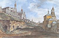 View of the Sovereign-s Palace and the Church of the Annunciation in the Rye yard, c.1805, alekseyev