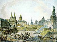 View of Voskresenskiye (Resurrection) Gates of Kitay gorod, Nikolskye Gate of Kremlin and Neglinny bridge., alekseyev