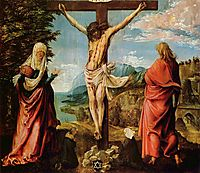 Crucifixion scene, Christ on the Cross with Mary and John, 1516, altdorfer