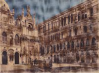 The courtyard of the Doge-s Palace in Venice, 1867, altrudolf