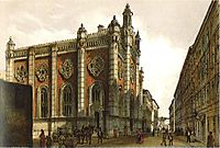 Jewish temple in the city Leopold, 1860, altrudolf