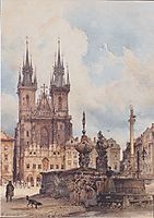 View of the Old Town Square with the Church in Prague They, 1843, altrudolf