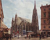 View of the Stephansdom from Stock im Eisen Platz, 1832, altrudolf