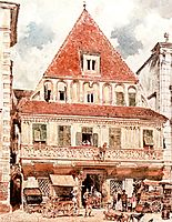 Watercolour of Steyr Bummerlhaus, 1871, altrudolf