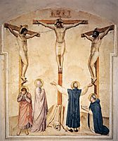 Crucifixion with Mourners and Sts. Dominic and Thomas Aquinas , 1442, angelico