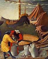 The Story of St. Nicholas. St. Nicholas saves the ship (detail), 1448, angelico