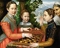 Lucia, Minerva and Europa Anguissola Playing Chess, 1555, anguissola