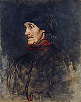 Old woman with a headscarf, 1905, azbe