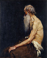 Sitting old man nude, 1905, azbe