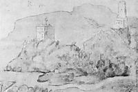 Drawing of the castles of Alsacien Ortenberg (right) and Ramstein (left), 1514, baldung