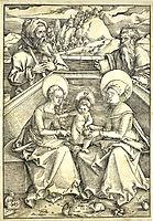 The Holy Family with Saint Anne and Saint Joachim Gravure sur bois vers realisee 1510 1511 (Allemagne) 5 lapins se trouvent aux pieds de la Sai.jpg, 1511, baldung