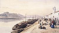 Quay of the Danube with Greek Church in 1843, 1843, barabas