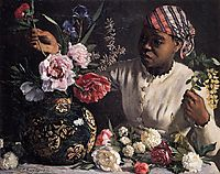 Negress with Peonies, 1870, bazille