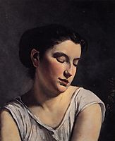 Young Woman with Lowered Eyes , 1869, bazille