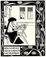 How La Beale Isoud Wrote to Sir Tristram  , beardsley