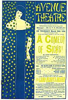 Poster advertising -A Comedy of Sighs-, a play by John Todhunter, 1894, beardsley